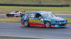 Holden Vs Ford (1/2) (Jungle Jack Movements (ferroequinologist)) Tags: ford falcon au xr8 holden commodore ss v8 chev chevrolet larry perkins marcus ambrose russell ingall stone brothers racing 9 caltex havoline sbr nsw new south wales australia sydney motorsport park muscle car stuart inwood mark wright vp motor pass race speed cars hottie track practice pole position times timing hard competition competitive event saloon sports racer driver engine build fast faster fastest grid circuit drive helmet sponsor number class classic day castrol