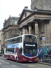 Lothian 885 in George Street, Edinburgh. (calderwoodroy) Tags: sn08bwx eclipsegemini wrightbus b9tl volvo 885 service16 edinburghtransport transportforedinburgh lothianbusescentenary lothianbuses lothian100 lothian doubledecker bus georgestreet edinburgh scotland