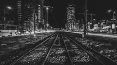 a short story about stones between tram tracks (ignacy50.pl) Tags: blackandwhite monochrome cityscape nightlights night nightscape lines tram tracks