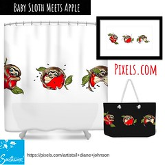 "New design at Pixels.com, by L. Diane Johnson ""Baby Sloth Meets Apple"", on home decor, office, wall art of all kinds. (LDianeJohnson-Southwind) Tags: gifts duvetcovers phonecovers pillows artist ldianejohnson southwind illustration babyanimals fruit apple exoticanimal animals flatdesign homedecor babysloth sloth"