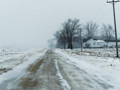 It's Snowing on Gates Road (joeldinda) Tags: graysky greysky gray grey cloud snow weather sky tree woodlot house unpaved february 4466 dirtroad fields farmyard road stubble roxana em1 omd olympus omdem1mkii michigan eatoncounty roxandtownship em1ii 2019 winter