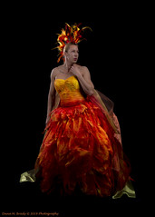 Rise from the Ashes of the Phoenix (Dana Brady) Tags: colours headpiece feathers convertedweddingdress peacockfeathers phoenix flames canadianmodel athletic strong strength bodypositive