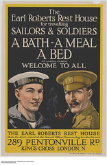 A bath, a meal and a bed for travelling sailors and soldiers in London, England / Un bain, un repas et un lit pour les matelots et les soldats à Londres (Angleterre) (BiblioArchives / LibraryArchives) Tags: lac bac libraryandarchivescanada bibliothèqueetarchivescanada canada sleep beds bed poster affiche firstworldwar premièreguerremondiale fww worldwarone wwi bath meal sailors marins soldiers soldats london londres england angleterre 19141918 lit lits endormi endormie