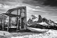 Rock and Glass... (Ody on the mount) Tags: ampezzo anlässe architektur berge dolomiten em5ii fototour gipfel himmel italien mzuiko1250 museum omd olympus pelmo schnee schneeschuhtour schneeschuhtour2019 südtirol urlaub winter wolken architecture bw clouds frame monochrome mountains peaks sw sky cibianadicadore provinzbelluno it
