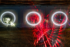 the red one (genelabo) Tags: triple garage door red rot 3fach tore projektion projection madmapper circle kreis light painting lightpainting long exposure langzeit bavaria bayern genelabo night nacht scenery video mapping outdoor draussen panasonic