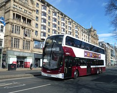 Lothian 1069 on Princes Street, Edinburgh. (calderwoodroy) Tags: enviro400xlb alexanderdennis adl b8l volvo sj19owc 1069 service11 edinburghtransport transportforedinburgh lothianbuses lothian lothianbusescentenary lothian100 doubledecker bus princesstreet edinburgh scotland