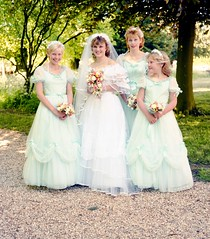 Bride and bridesmaids (vintage ladies) Tags: 80s 80swedding portrait photograph bride 80sbride 80sstyle female woman lady wedding weddingdress man male groom bouquet eoshe beauty beautiful lovely