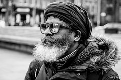 Lotus (Cycling-Road-Hog) Tags: beard blackwhite bristosquare candid canoneos750d citylife colour edinburgh edinburghstreetphotography fashion hat monochrome people places scarf scotland shades sigma1750mmf28 street streetphotography streetportrait style urban