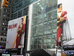 IMG_4473 (Brechtbug) Tags: shazam billboard 42nd street new captain marvel the big red cheese poster ad nyc 2019 times square movie billboards york city work working worker paint painting advertisement dc comic comics hero superhero alien dark knight bat adventure national periodicals publication book character near broadway shield s insignia blue forty second st fortysecond 03232019 lightning flight flying march