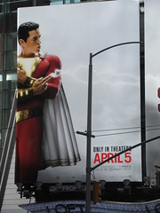 IMG_4459 (Brechtbug) Tags: shazam billboard 42nd street new captain marvel the big red cheese poster ad nyc 2019 times square movie billboards york city work working worker paint painting advertisement dc comic comics hero superhero alien dark knight bat adventure national periodicals publication book character near broadway shield s insignia blue forty second st fortysecond 03232019 lightning flight flying march