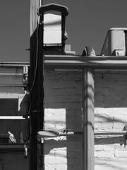 Conduits and Drains (Nick Condon) Tags: architecture blackandwhite brick gutter olympus45mm olympusem10 winnetka absoluteblackandwhite olympus