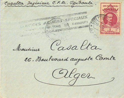 1942 Via Air France Mail from Djibouti to Algiers