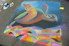 Sea turtle swimming over the colorful ocean floor (radargeek) Tags: chickasha oklahoma 2018 april montmartrechalkartfestival chalk usao universityofscienceandartsofoklahoma seaturtle ok