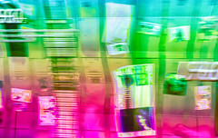 1/52: Nothing is more abstract than reality...Giorgio Morandi (judi may) Tags: theweeklymonthlychallenge2019 abstract abstraction vibrant vibrantcolours blur focusisoverrated defocussed pink green icm movement intentionalcameramovement london postalmuseum