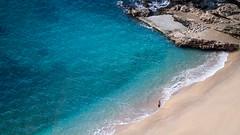 Alone, Dubrovnik, Croatia (pas le matin) Tags: croatia croatie hrvatska europe europa beach plage mer sea sand sable woman people blue bleu wave vague dubrovnik rochers rocks travel voyage world canon 7d canon7d canoneos7d eos7d