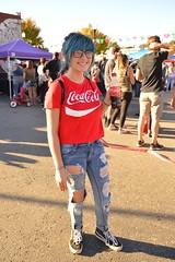 Audra (radargeek) Tags: plazadistrict dayofthedead 2018 october festival kid kids child slashed jeans cocacola bluehair tshirt portrait glasses