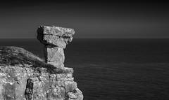 Hammer (paullangton) Tags: mono dorset purbeck bw blackandwhite quarry rocks boulders coast sea sky jurassic clouds landscape seascape monochrome