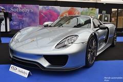 Porsche 918 Spyder 2015 (Monde-Auto Passion Photos) Tags: voiture vehicule auto automobile porsche 918 spyder cab cabriolet convertible roadster spider sportive hypercar rare rareté gris grey vente enchère sothebys france paris