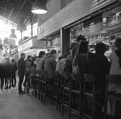 Tapas Bar, La Boqueria, Barcelona, 2018. (richardhunter3) Tags: boqueria barcelona street market yashica 635 tlr ilford hp5 pushed xtol black white film people stalls spain