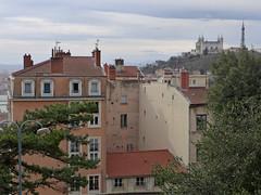 View towards Fourvière Basilica (jrw080578) Tags: trees church buildings france lyon