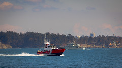 CCGS Cape Calvert (kevin.boyd) Tags: coast guard ccgs cape calvert ship vessel rescue victoria bc canada esquimalt lagoon pacific northwest pacnw pnw ocean sea wake red blue sky navy pct60 hmcsgrizzly grizzly