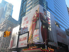 Shazam The Big Red Cheese Billboard 42nd St NYC 4337 (Brechtbug) Tags: shazam billboard 42nd street new captain marvel the big red cheese poster ad nyc 2019 times square movie billboards york city work working worker paint painting advertisement dc comic comics hero superhero alien dark knight bat adventure national periodicals publication book character near broadway shield s insignia blue forty second st fortysecond 03202019 lightning flight flying march