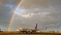 Rainbow & 737 (Teutonic01) Tags: virginaustralia b737800 vhyfl va211 boeing ypad adelaideairport southaustralia rainbow rain autumn aircraft