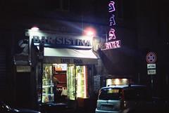 Bar Sistina (goodfella2459) Tags: nikonf4 afnikkor50mmf14dlens cinestill800t 35mm c41 film night analog colour roma barsistina italy rome signs
