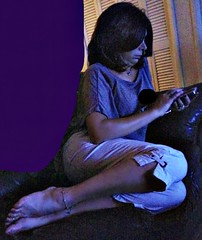 in the dark (lyndawaybi3) Tags: hot sexy maturemarried wife mom milf shared hotwife lynda legs feet toes bare anklet ankle bracelet toe ring texting