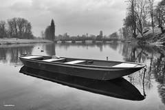 River Korana serenity (malioli) Tags: baw blackaandwhite monochrome river water boat korana karlovac croatia hrvatska europe canon