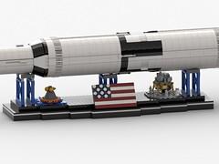 Saturn V Display mit Saturn V_2 (Knackepeter) Tags: lego moc saturn v nasa apollo space 21309 rebrickable bricklink lxf ldd