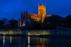 Worcester Cathedral-1377 (alan.dphotos) Tags: worcester cathedral building church religion river severn light dark sky trees shadows reflections