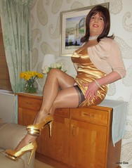 One for the Brunette lovers (janegeetgirl2) Tags: transvestite crossdresser crossdressing tgirl tv ts trans jane gee seams seamed fully fashioned stockings garter belt bumps black heels gold satin dress hair pearl choker shrug brunette platform crossed legs breastforms breastformstore