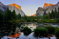 An October sunset at Valley View... (Rachel Finney Photography) Tags: fall bridalveil threebrothers elcapitan sky water river merced granite sierras eastern sunset view valley yosemitenationalpark