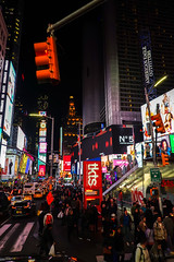 Lots of People and Colour (Jocey K) Tags: sonydscrx100m6 triptocanadaandnewyork architecture buildings evening illumination billboards timessq nighttourhopandhopoffbus crowds trafficlights street road