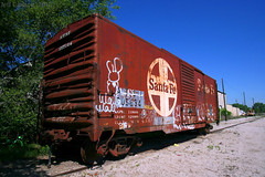 ATSF MOW Boxcar, Lawrence, KS (Jeff Carlson_82) Tags: atsf santafe 40 boxcar mow maintenanceofway condemned bx151 205694 277144 bnsf lawrence ks kansas train railroad railfan railway