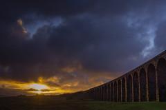 Ribblehead_11 (julesh1966@googlemail.com) Tags: ribbleheadviaduct northyorkshire yorkshiredales sunrise clouds railway landscape grassland ingleborough colour autumn ariel drone