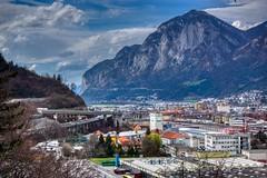 Innsbruck with the Alps, Tyrol, Austria (UweBKK (α 77 on )) Tags: österreich austria tyrol tirol europe europa alps mountain innsbruck city urban river inn valley clouds sky sony alpha 77 slt dslr