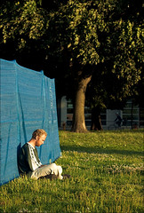 man_moss-park_grass_blue-wall_01_8780409044_o (wvs) Tags: garbage moss park people streets strike textures urban toronto ontario canada can