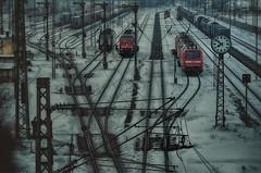 Starting a new trip (ramerk_de) Tags: hdr regensburg ratisbone bundesbahn bayern lokomotive diesel winter schnee weiche