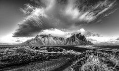 Amazing Morning in Iceland (Nick L) Tags: stockness stokkness vestrahorn vesturhorn iceland hofn horn hofnh3 h3 canon5d3 canon5dmark3 canon canonef1124f4l 1124l brunnhorn eos eos5dmark3 plutonicgabbro gabbro dawn dawnlight clouds outdoor outside mountains morning vikingcafe dunes blacksand stokksnes 5d3 sand sky bw blackandwhite