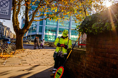 Stop Works (Michael Goldrei (microsketch)) Tags: 2018 autumn x100t england eu street lady fall traffic photos november photographer london st hs2 photography fuji sunglight series rest photo square nov fluorescent herbst sunny autumnal european euston yellow lollypop xseries lolliepop fujifilm dappled trees leaves stop sign tree 18 fujilovers break works woman x europe uk oct