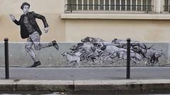 Levalet_1236 passage Saint Sébastien Paris 11 (meuh1246) Tags: streetart paris animaux levalet passagesaintsébastien paris11 chapeau chien
