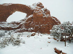 Snow at South Window (xjblue) Tags: 2018 archesnationalpark newyearsweekend southernutah utah canyon canyonlands cold desert governmentshutdown sandstone snow trip winter naturalarch natural span