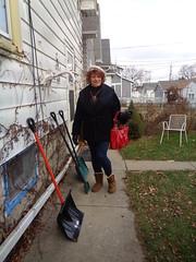 Around Back, And Ready For Winter (Laurette Victoria) Tags: coat leggings gloves purse hat laurette woman boots snowshovels