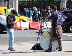 Outside Broadcast (Waterford_Man) Tags: broadcasting broadcaster london media cameraman reporter candid street people path