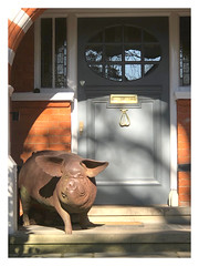They say pets look like their owners! (The Stig 2009) Tags: pig sculpture door entrance metal hampstead london fun candid thestig2009 thestig stig 2009 2019 tony o tonyo apple iphone 8 plus