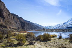 Cottonwood Canyon State Park and John Day River (Bonnie Moreland (free images)) Tags: oregon cottonwoodcanyonstatepark johndayriver water snow winter mountains high desert brush grass cliffs rock