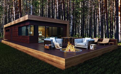 森に溶け込む素敵な別荘