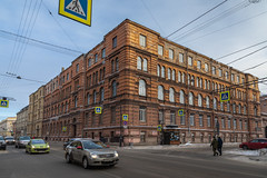 Morning in St. Petersburg. (Oleg.A) Tags: saintpetersburg square building russia street city outdoor town morning colorful old house orange sky exterior brick winter architecture design outdoors petersburg russian st leningradoblast ru